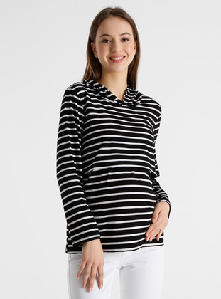 Black - Stripe - - Maternity Tunic