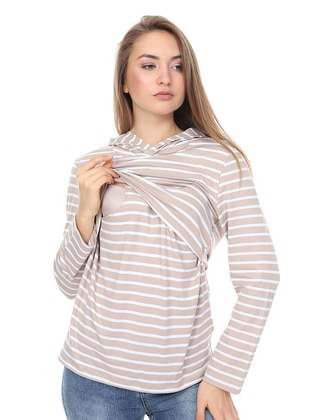 Beige - Stripe -  - Maternity Tunic - Luvmabelly