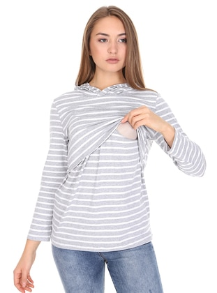 Gray - Stripe -  - Maternity Tunic - Luvmabelly