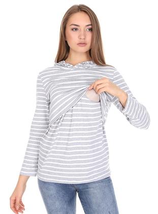 Gray - Stripe -  - Maternity Tunic