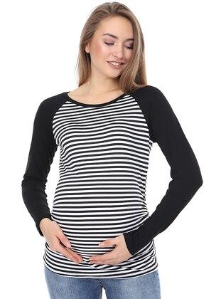 Black - Crew neck - Stripe -  - Maternity Tunic