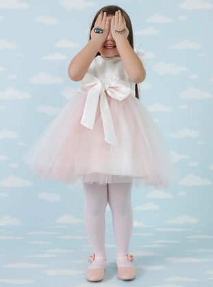 Crew neck - Dusty Rose - Girls` Dress