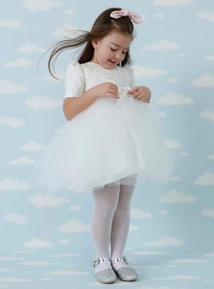 V neck Collar - Cream - Girls` Dress