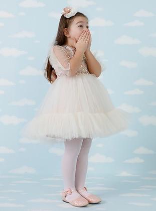 V neck Collar - Mink - Girls` Dress - Daisy Girls