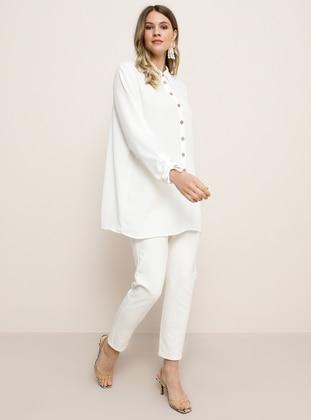 Ecru - Point Collar - Plus Size Tunic