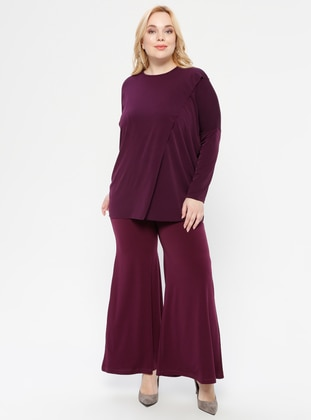 Plum - Crew neck - Unlined -  - Plus Size Suit