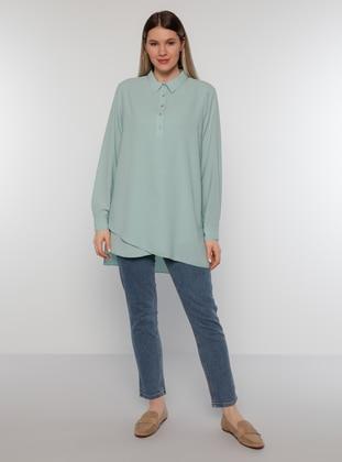 Sea-green - Point Collar - Plus Size Tunic