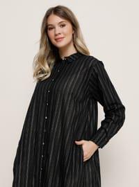 Lamé - Siyah - Çizgili - Astarsız kumaş - Fransız yakalı - - Büyük beden elbise