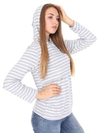 Gray - Stripe -  - Maternity Tunic