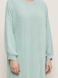 Sea-green - Fully Lined - Crew neck - Muslim Plus Size Evening Dress