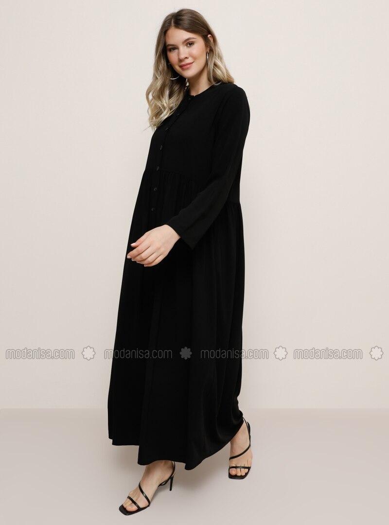 Noir Tissu Non Double Col Rond Robe Grande Taille