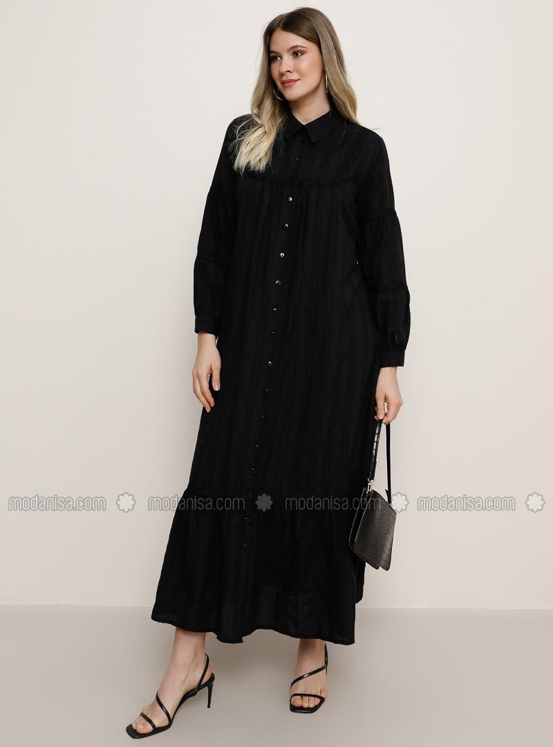 Siyah - Fransız yakalı - Büyük Beden Elbise