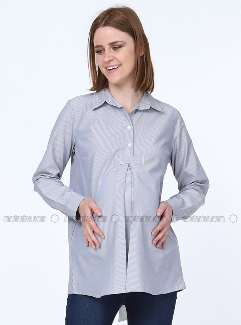 Black Point Collar Maternity Blouses Shirts