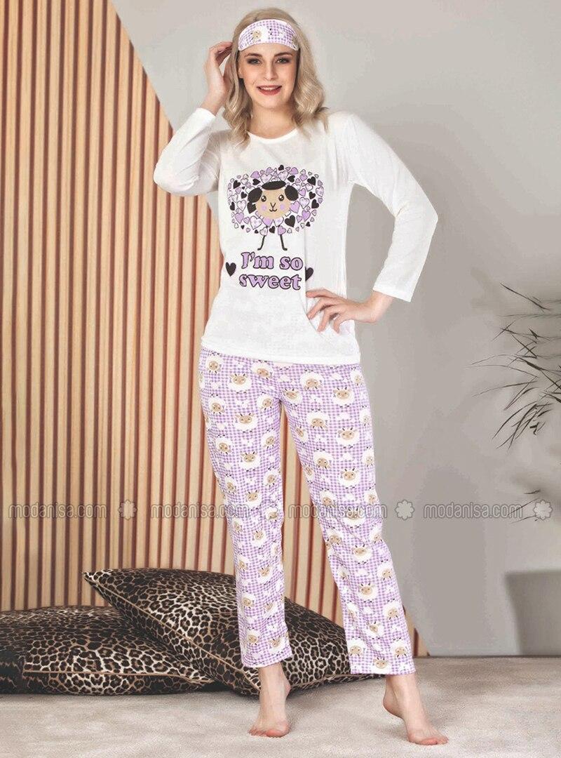 Lilac - Crew neck - Multi -  - Pyjama Set
