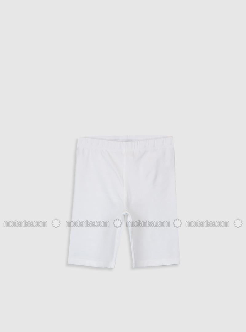 White - Girls` Leggings