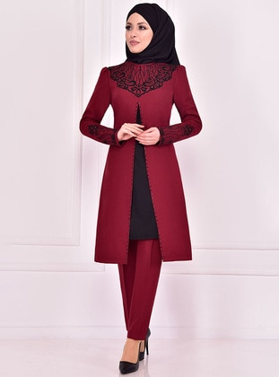 Maroon - Crew neck - Evening Suit - AYŞE MELEK TASARIM