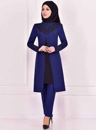 Indigo - Crew neck - Evening Suit - AYŞE MELEK TASARIM