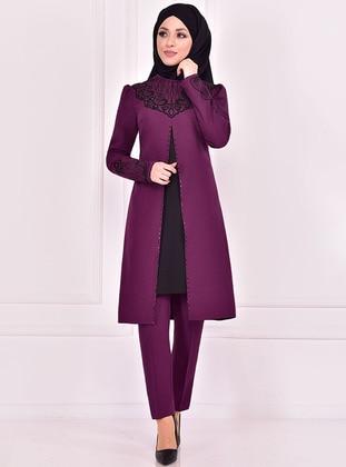 Purple - Crew neck - Evening Suit