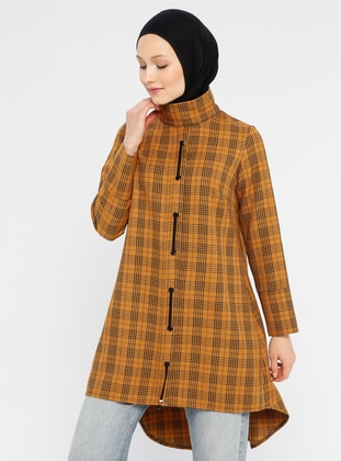 Mustard - Houndstooth - Polo neck - Viscose - Tunic