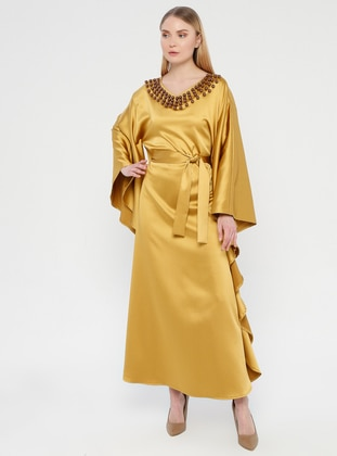Mustard - Unlined - Crew neck - Abaya