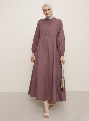 Purple - Unlined - Crew neck -  - Plus Size Dress - Alia