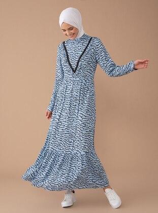 Blue - Multi - Polo neck - Dress