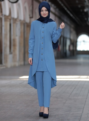 Blue - Unlined - Crepe - Suit