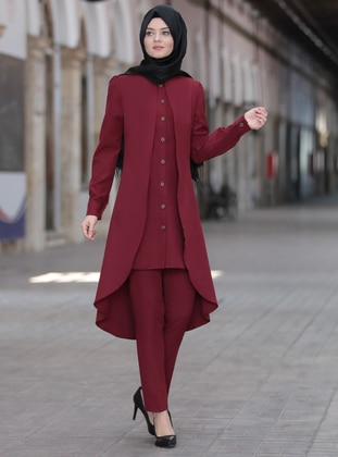 Maroon - Unlined - Crepe - Suit