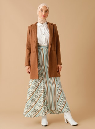 Green Almond - Stripe - Half Lined - Viscose - Skirt