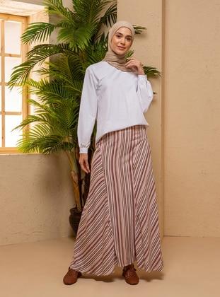 Powder - Stripe - Half Lined - Viscose - Skirt