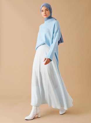 Blue - Unlined - Viscose - Skirt
