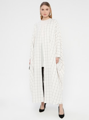 White - Black - Checkered - Unlined - Shawl Collar - Abaya