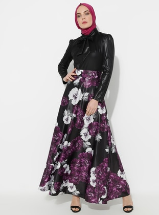Fully Lined - Multi - Plum - Floral - Crew neck - Evening Suit