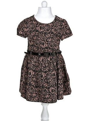 Multi - Crew neck -  - Brown - Girls` Dress