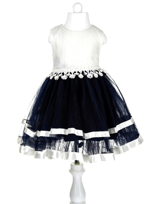 Crew neck -  - Navy Blue - Girls` Dress