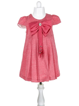Crew neck -  - Coral - Girls` Dress