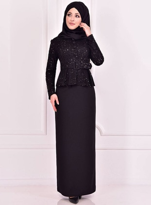 Black - Crew neck - Muslim Evening Dress