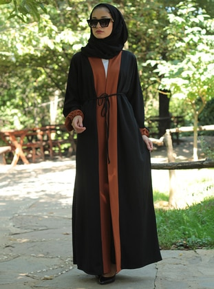 Brown - Black - Unlined - V neck Collar - Abaya