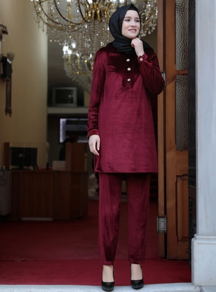 Unlined - Maroon - Crew neck - Evening Suit