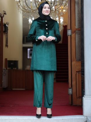 Unlined - Emerald - Crew neck - Evening Suit