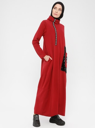 Plum - Polo neck - Unlined -  - Dress