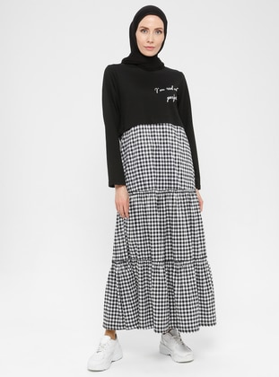 Black - Checkered - Crew neck - Unlined -  - Dress