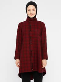 Maroon - Houndstooth - Polo neck - Viscose - Tunic