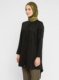 Khaki - Houndstooth - Polo neck - Viscose - Tunic