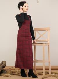 Maroon - Plaid - Sweatheart Neckline - Unlined -  - Dress