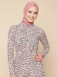 Pudra - Multicolor - Fransız Yaka - Elbise