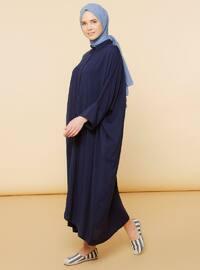 Lacivert - Çok renkli - Fransız yaka - Astarsız kumaş - Viskon - Elbise
