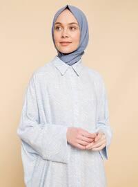 Mavi - Çok Renkli - Fransız Yakası - Astarsız - Viskon - Elbise
