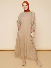 Taş rengi - Fransız yakası - Astarsız - Viskon - Elbise