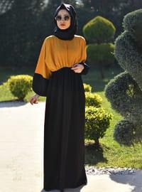 Sarı - Siyah - Yuvarlak yakalı - Astarsız kumaş - Elbise